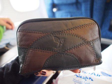 Iran Air Homa Class Mashhad leather amenity kit