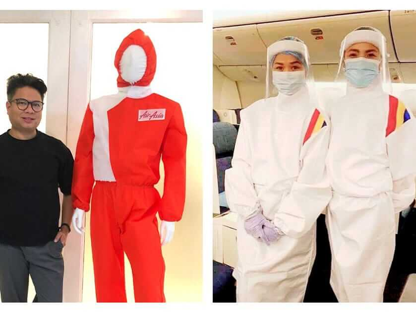 AirAsia and Philippine Airlines personal protective equipment-integrated uniforms. Edwin Tan and Puey Quiñones