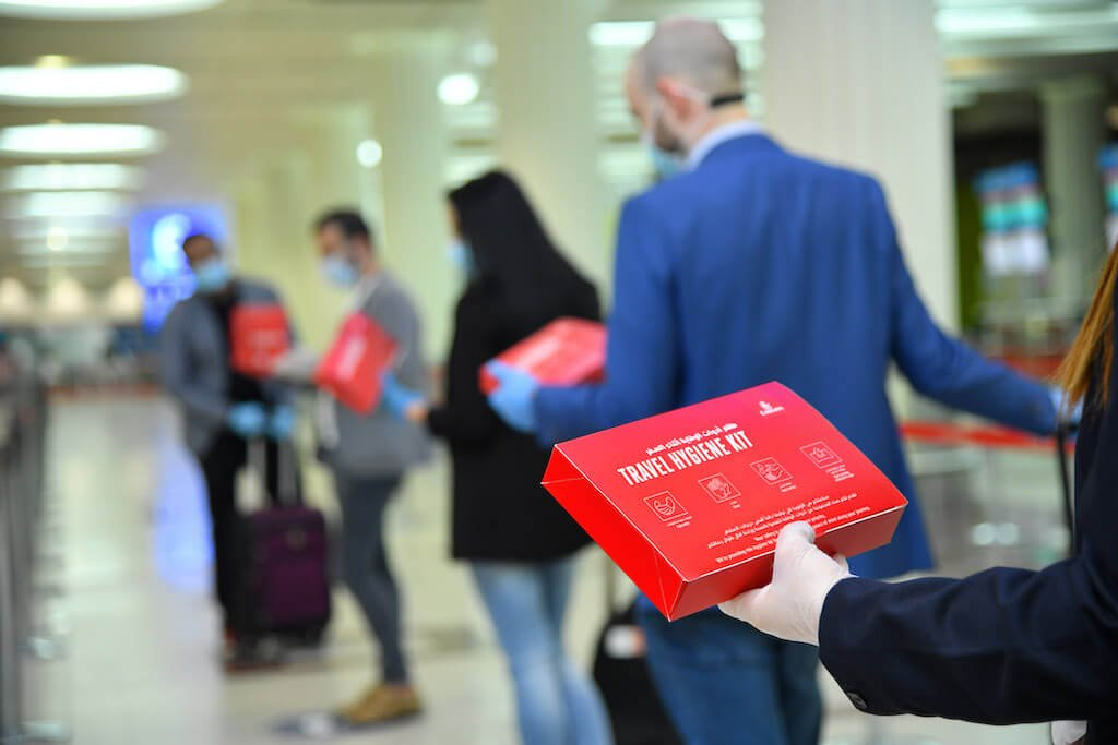 Emirates has introduced complimentary hygiene kits to be given to every passenger upon check in at Dubai International Airport and on flights to Dubai. These kits comprise of masks, gloves, antibacterial wipes and hand sanitiser