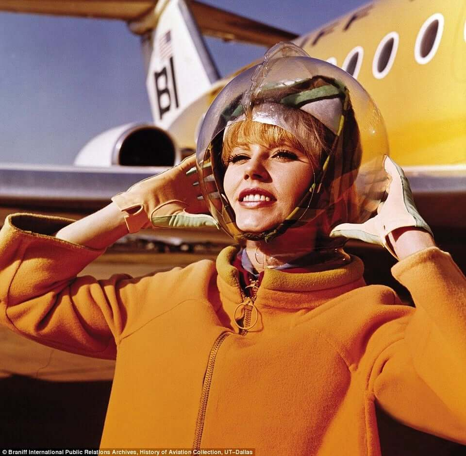". The Space Suit"" cabin crew uniform worn by Braniff International Airways, designed by Emilio Pucci 1965."