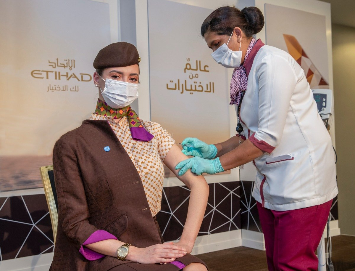 Etihad Airways is the first airline in the world with 100% of crew on board vaccinated