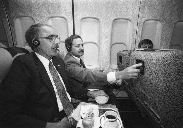 The first in-seat IFE system, Northwest Airlines, 1988